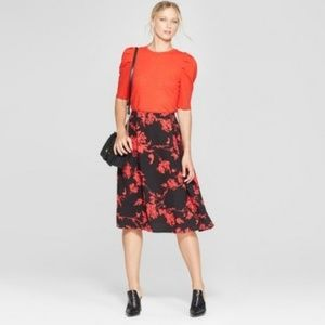 NWT PLUS Who What Wear Black Red Midi Skirt 16